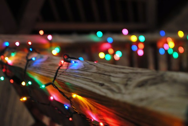 christmas lights around the beach house