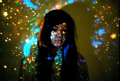 starsnostars (kirstin kerr) Tags: light moon girl shirt print stars longhair galaxy celestial projections gliter