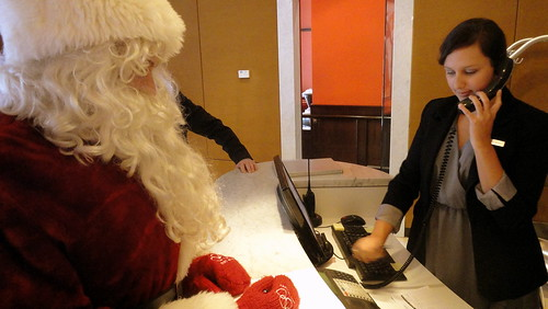 Santa checking into Opus