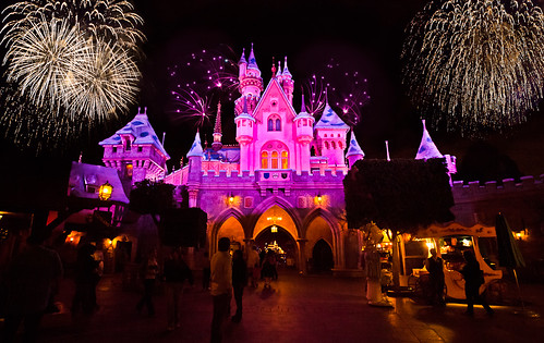 Fireworks above Sleeping Beauty's Castle, Disneyland