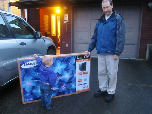 The boys show up with a new TV