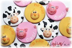 Imanes granja (ArtWen) Tags: pollo vaca granja porcelanafria pastadimais artwen cerdopicnik