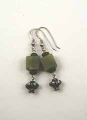 Jade and Bali silver earrings