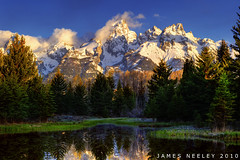 Watchful Waiting (James Neeley) Tags: morning mountains sunrise landscape nikon wyoming tetons grandtetonnationalpark photomatix gtnp schwabacherslanding 5xp jamesneeley exposurefusion