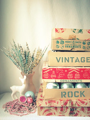 My Vintage Ornaments Rock!! (Trisha Brink Design) Tags: christmas original holiday glass vintage colorful antique balls garland retro deer ornaments handpainted boxes pick decor beaded midcentury shinybrite trishabrinkdesign