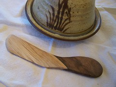 Walnut wood butter spreader