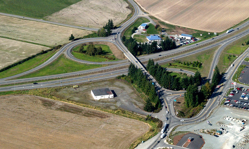 Aerial of I-5/Chuckanut Drive interchange before construction