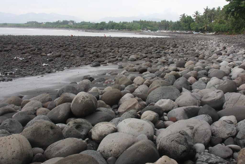The rocky base at Medewi, Indonesia