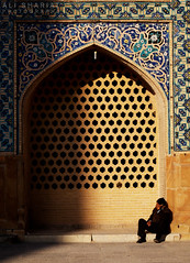 Waiting for Gods Call (alishariat) Tags: travel autumn sleeping vacation sun holiday man tourism tile relax gold persian fantastic waiting arch afternoon place iran awesome muslim prayer middleeast mosaics persia mosque stunning destination iranian exploration esfahan touring masjid isfahan sightseein islamicworld placeofworkship intrepittravels alishariat