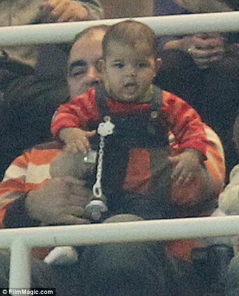 Ronaldo's Baby Watches Soccer. Guanabee / 13th Dec 2010. Cristiano Ronaldo Jr. (Foto tirada durante a partida Real Madrid vs Auxerre,
