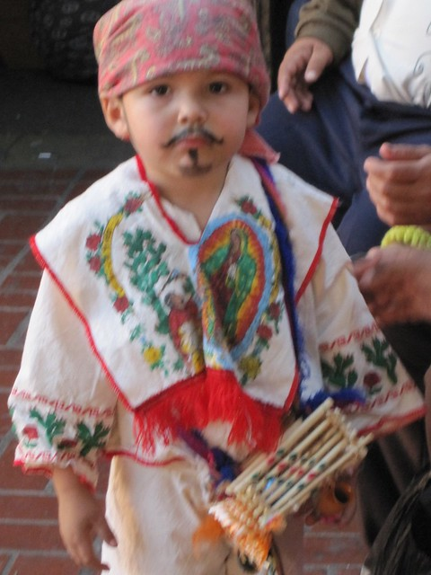 Toddler boy at La Virgen de Guadalupe festivities, Olvera St