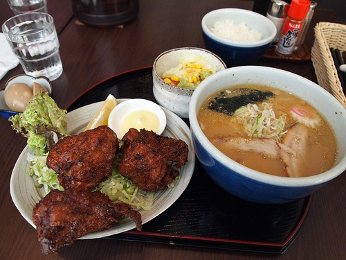 Karaage chicken set with shio ramen