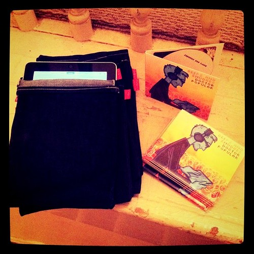 Adding denim iPad sleeves and CDs to my shop.