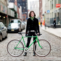 BikeNYC Portrait: Jana (Dmitry Gudkov) Tags: nyc newyorkcity bike bicycle brooklyn canon fuji cyclist dumbo cobblestones brooklynbridge jana singlespeed biker bicyclist efs f28 1755 greenbike bikecommuter bicyclecommuter bikenyc bikeportrait citycycling cyclechic brooklynphotographer bicycleportrait dmitrygudkovphotography bokehpanorama brenizermethod bikephotographer