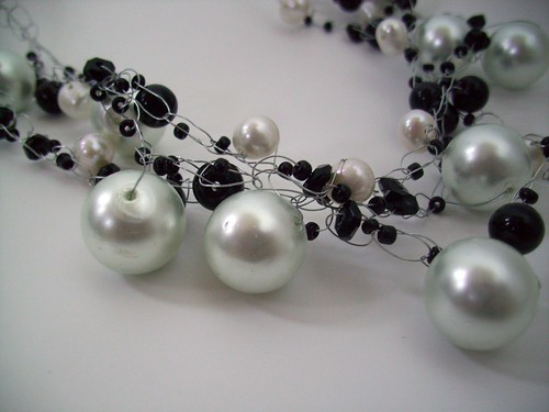 "Crochet ""Black & White"" Necklace w/Silver Wire & Clasp"