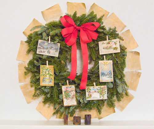 Vintage Postcard Wreath