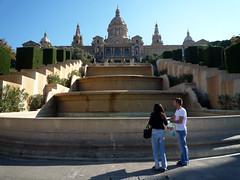 Museu Nacional d'Art de Catalunya, Barcelona with couple