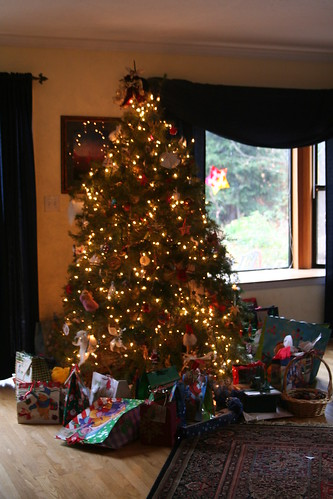 Christmas Morning: Our Tree with Gifts