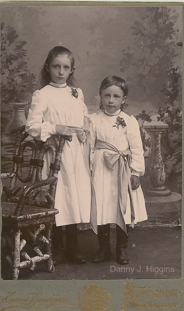 Two Beautiful Little Girls In Dresses With Flowers And Bows