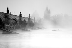 Charles Bridge in the mist / Karlv most v mlze (Jirka Chomat) Tags: morning bridge bw tower church river czech prague prag praha most czechrepublic charlesbridge bohemia vltava voda kostel podzim karlvmost msto lo eka frantiek mlha svtn rno v ernobl pil ledolamy
