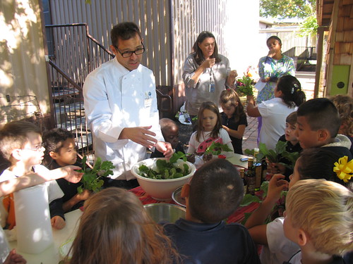 Chef John Tesar demonstrates how to make a salad with greens grown at Stonewall Garden.