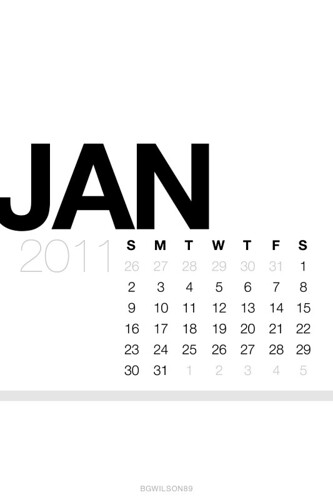 January Lock Screen Calendar Wallpaper White [iOS 4 Retina Display]