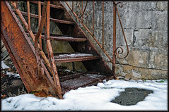 Where beauty has no ebb, Decay no flood, But joy is wisdom, Time an endless song. (Greg Foster Photography) Tags: atlanta winter snow abandoned ice metal stairs georgia rust iron decay wroughtiron steps rusty study staircase forgotten abandonment 2010
