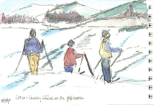 Cross-country skiiers on the golf course, Lake Placid, NY