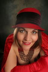 smiles... (funkygreeneyedlady) Tags: red hat headshot boudoir bbwmodeling oldhollywoodbbwmodelingboudoirsexybbw