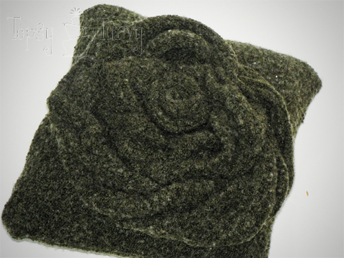 rosette sweater pillow finished