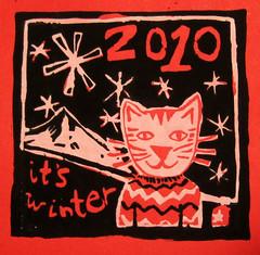 it's winterprint (KittyL) Tags: screenprint album cdcover mounthood 2010 upsidedowncat snowflakesitswinter
