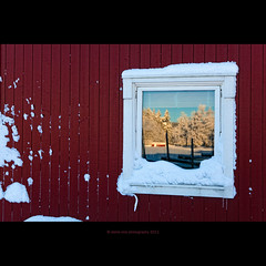 your picture on my wall (stella-mia) Tags: winter red snow reflection window norway forest dof bokeh pov redhouse sn 2470mm canon5dmkii veslelien annakrmcke
