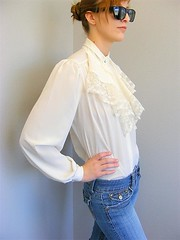 Victorian Style Creamy Flounced Lace jabot Blouse Right Side (mondas66) Tags: ruffles lace silk ascot blouse poet romantic elegant ornate lacy silky dainty prim frilly elegance jabot ruffle demure blouses silken frills frill ruffled flouncy flounce lacework frilled flounces frilling frillings ictorian befrilled