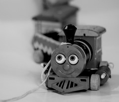 Chugga (las - initially) Tags: blackandwhite bw monochrome train vintage toys trainset toytrain oldtoys vintagetoys onwheels chugga oldtrainset ourdailychallenge fisherpricetrain