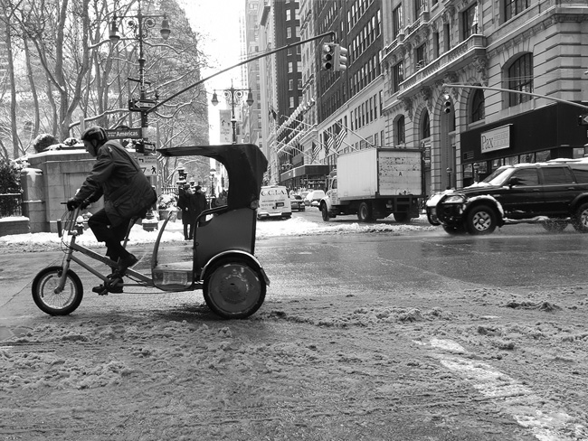Pedicab in the snow