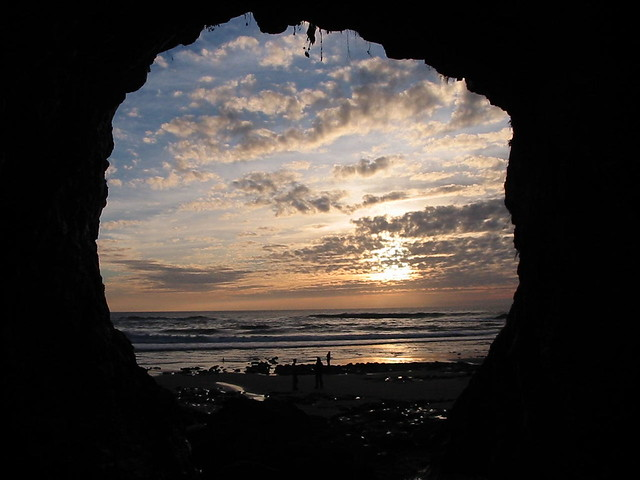sunset from a cave