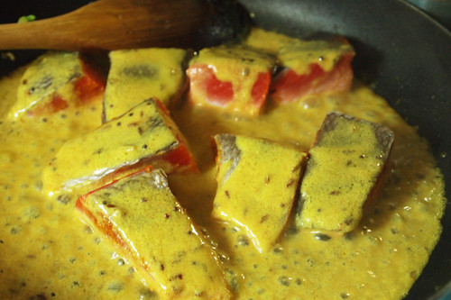 Bengali mustard salmon cooking