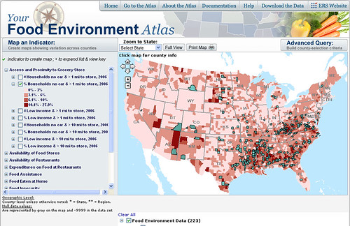 Map in Food Environmental Atlas web tool displaying results of user's query on indicators of food access in counties across the United States