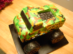 army monster truck cake (Angie Cakes) Tags: cake army camouflage monstertruck armyfatigues airborneranger boybirthdaycake monstertruckcake