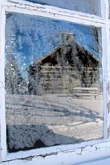 Frosty Reflections (deanspic) Tags: winter shadow snow ontario tree window cabin frost cornwall logcabin g12 longsault frostywindow altpark lostvillagesmuseum at30cexposedskinwillfreezein60seconds