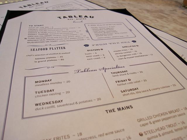 Tableau Bistro menu
