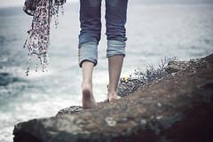 Two Steps Behind (mickiky) Tags: sardegna sea woman selfportrait feet beach me rock scarf myself donna mare legs wind steps autoritratto remotecontrol reef spiaggia piedi vento autoscatto sciarpa gambe scogli