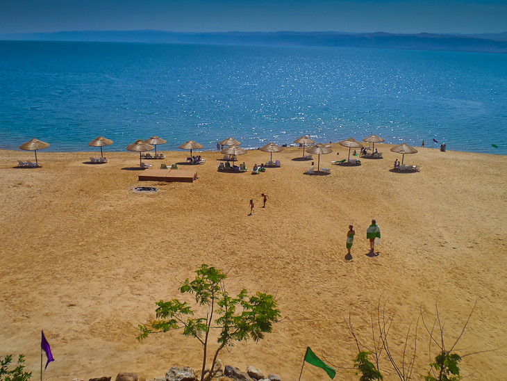 Beach at the holiday inn resort at dead sea