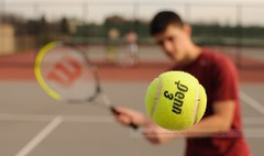 Racquet Bokeh (disgruntledbaker1) Tags: red green field 35mm fence ball court nikon bokeh player tennis f18 f5 depth racquet d90 11600 disgruntledbaker1