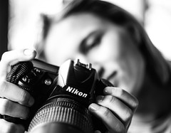 The Girl or The Camera?? (ivan.neshovski) Tags: girl camera photo photography nikon dlsr d7100 blackandwhite bnw carlzeiss zeiss primelens 50mm manuallens root rootphotography sonyshots sonyimages ony sonyalpha sonya6000 ilce6000