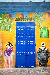 Tangier Medina Street Art (jeremyvillasis) Tags: tangier tanja tanger medina colorful color morocco maroc africa northafrica blue yellow paint travel old town oldtown streetphotography streetart urbanart wall art door traditional culture bluedoor painting publicart