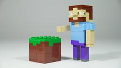 LEGO Minecraft Herobrine w/ Grass Block (BRICK 101) Tags: lego minecraft herobrine