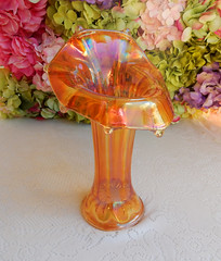 Imperial Carnival Glass Jack in the Pulpit Vase Morning Glory Marigold (Donna's Collectables) Tags: imperial carnival glass jack pulpit vase morning glory marigold thanksgiving christmas