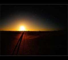 Moon shadow -  self portrait (Chantal Steyn) Tags: light shadow sky moon night dark stars landscape person sand nikon desert earth horizon tripod dry australia fisheye soil moonrise westernaustralia nullabor d300 cocklebiddy horison nohdr manforotto chantalsteyn