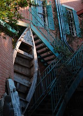 If I Needed a Boat... (jackandphyl) Tags: street windows roof lines stairs boat town alley texas bricks steps statues ivy shutters walls railings smalltown fredricksburg themelines 525of2010